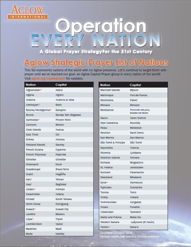 Operation Every Nation list of nations