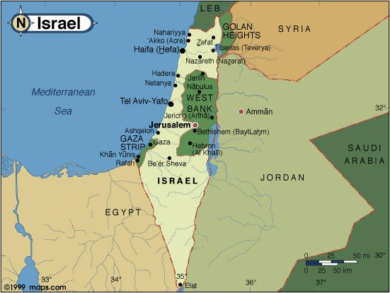 Map of Israel and surrounding nations